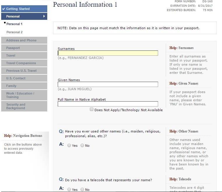 Formulário com os dados pessoais