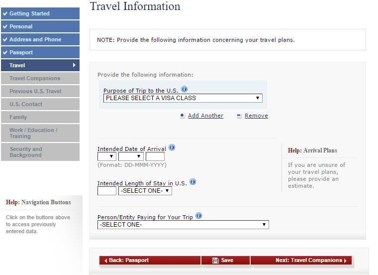 Tela com informações sobre a viagem