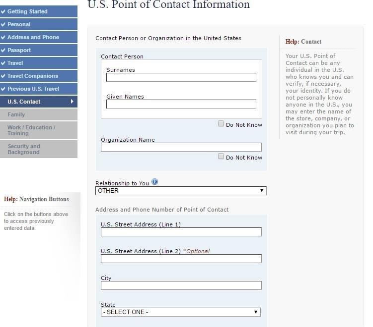 Forneça informações de contato nos EUA