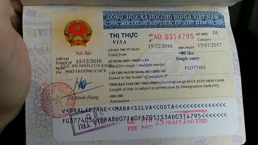 Meu visto para entrar no Vietnã =)