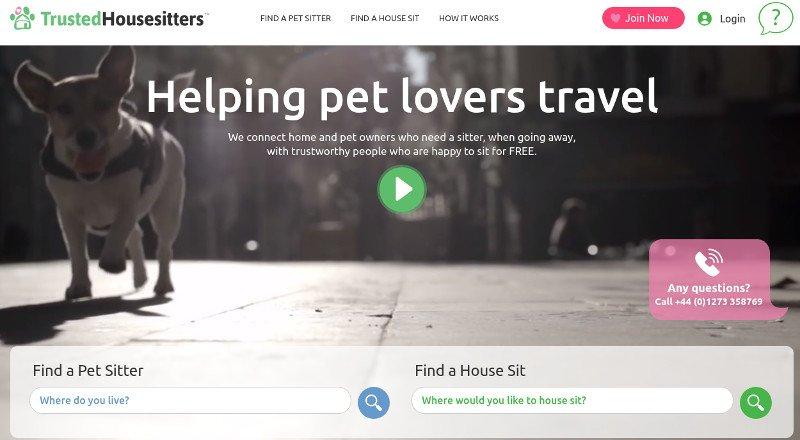 Site do Trusted House Sitters | Como economizar com a hospedagem