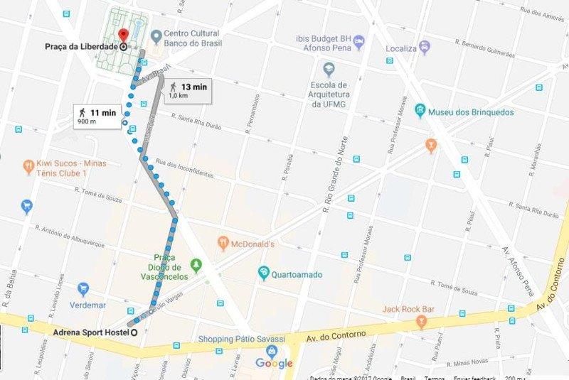Mapa com a localização do Adrena Sport Hostel.