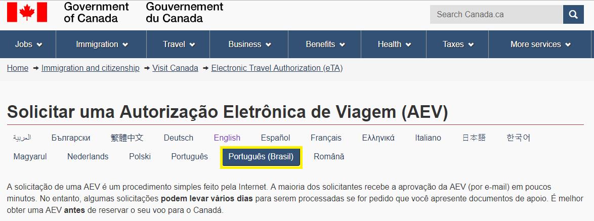 Página inicial, pode ser acessada em português | Passo a passo para emitir o eTA