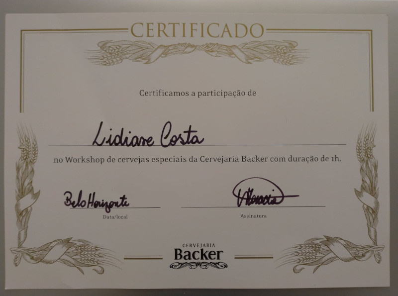 Certificado do Tour Cervejeiro