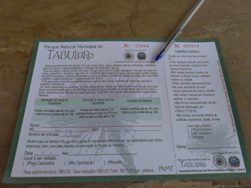 É necessário preencher algumas informações antes de visitar o parque