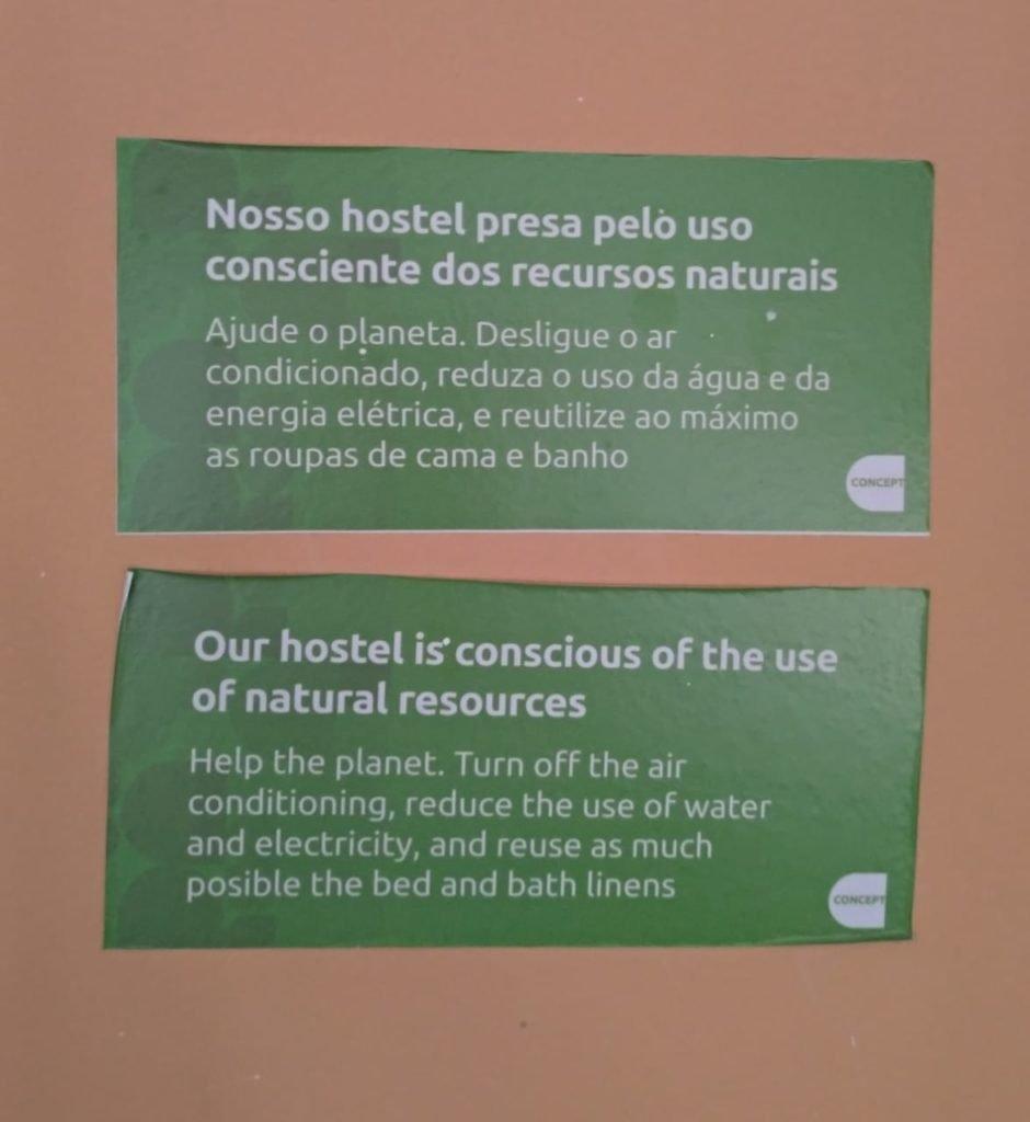 Lembretes para conscientizar os hóspedes   Onde ficar em Foz do Iguaçu