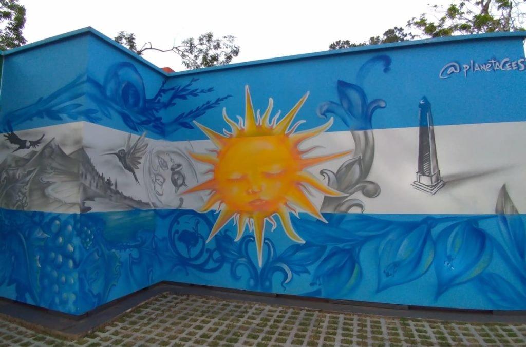 Grafite com a bandeira da Argentina.