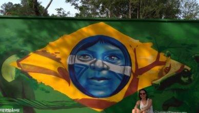 Grafite com a bandeira do Brasil.